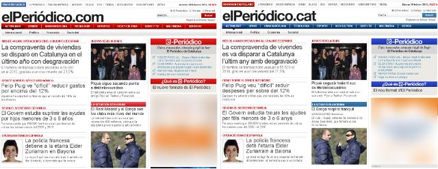 Ediciones castellana y catalana de El Periódico